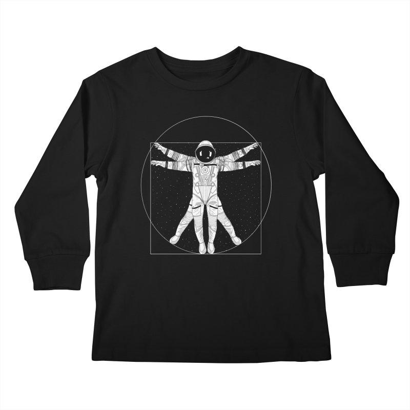 Vitruvian Spaceman (Light Ink) Kids Longsleeve T-Shirt by 84collective