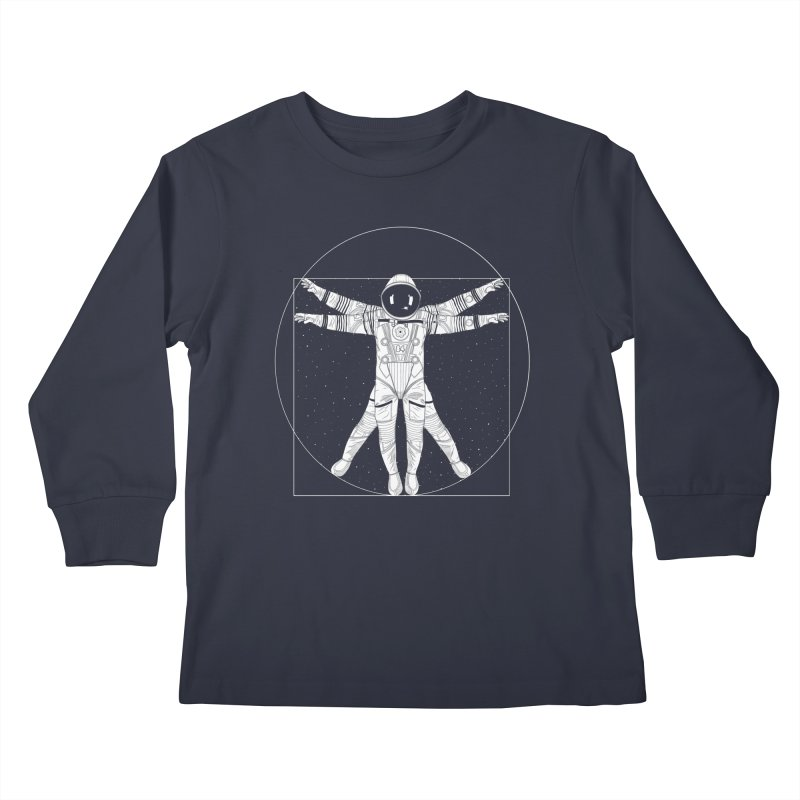 Vitruvian Spaceman (Light Ink) Kids Longsleeve T-Shirt by 84collective