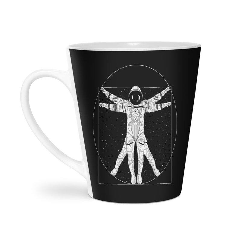 Vitruvian Spaceman (Light Ink) Accessories Latte Mug by 84collective