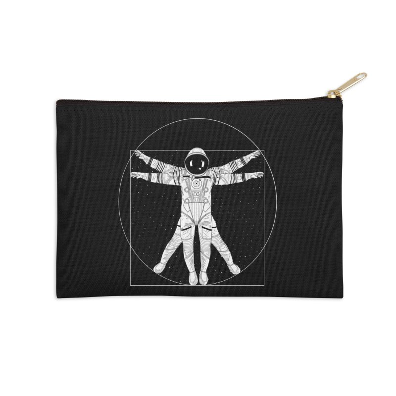 Vitruvian Spaceman (Light Ink) Accessories Zip Pouch by 84collective