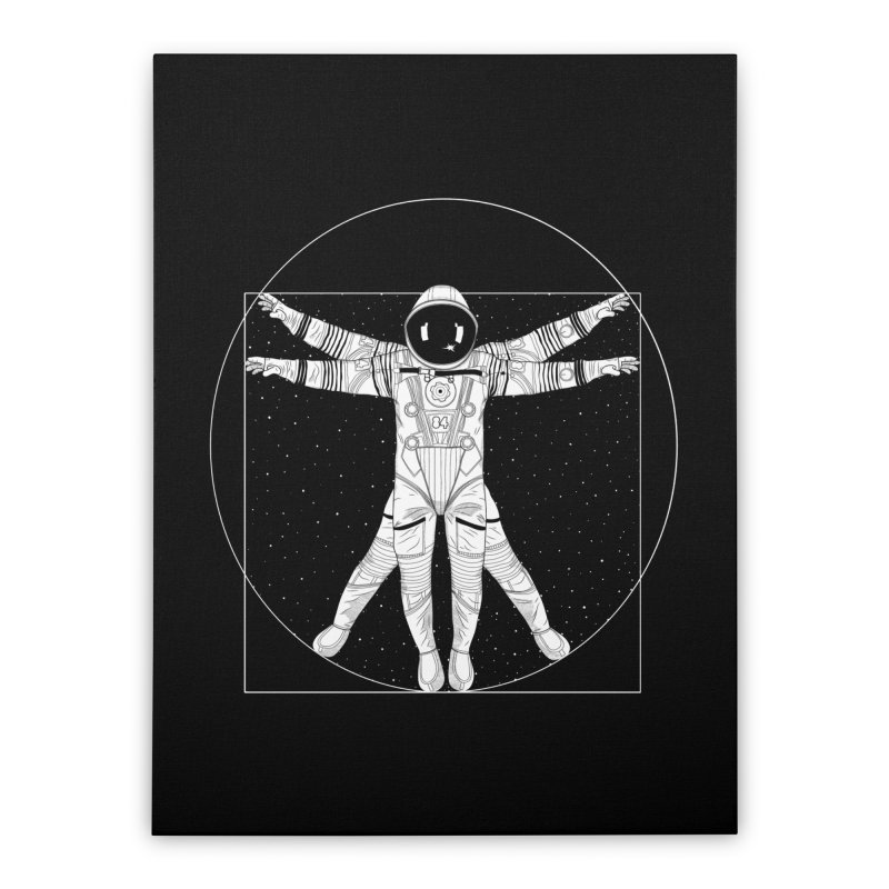 Vitruvian Spaceman (Light Ink) Home Stretched Canvas by 84collective