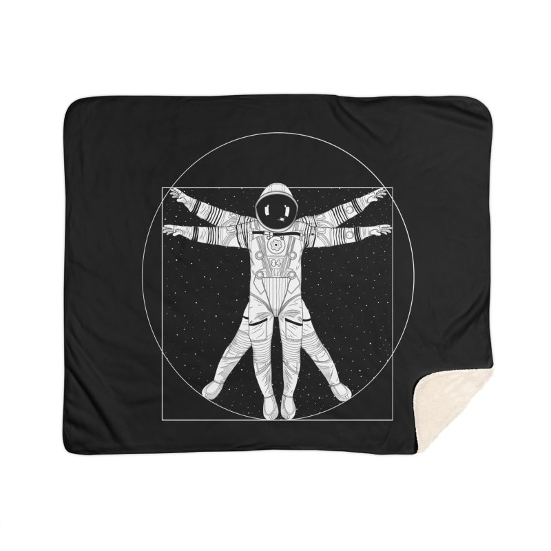 Vitruvian Spaceman (Light Ink) Home Sherpa Blanket Blanket by 84collective