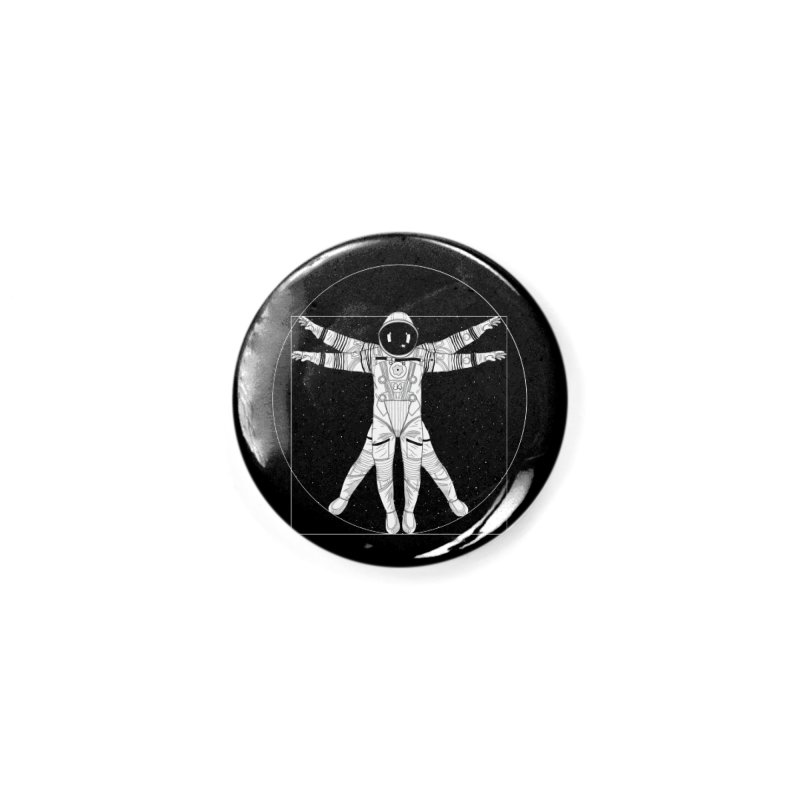 Vitruvian Spaceman (Light Ink) Accessories Button by 84collective