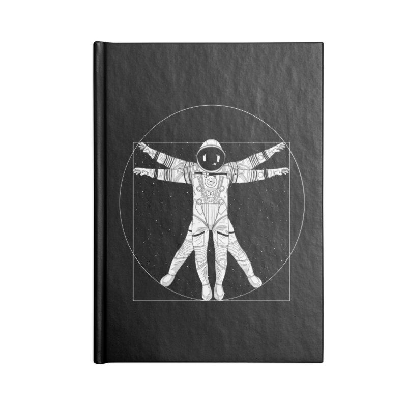 Vitruvian Spaceman (Light Ink) Accessories Blank Journal Notebook by 84collective