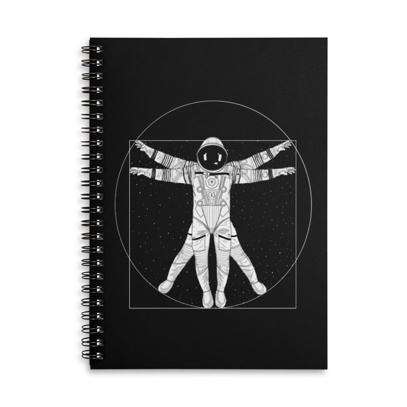 Vitruvian Spaceman (Light Ink) Accessories Lined Spiral Notebook by 84collective