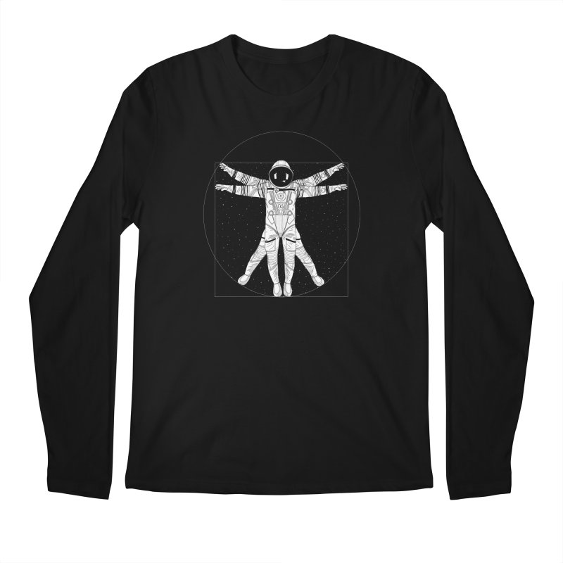 Vitruvian Spaceman (Light Ink) Men's Regular Longsleeve T-Shirt by 84collective
