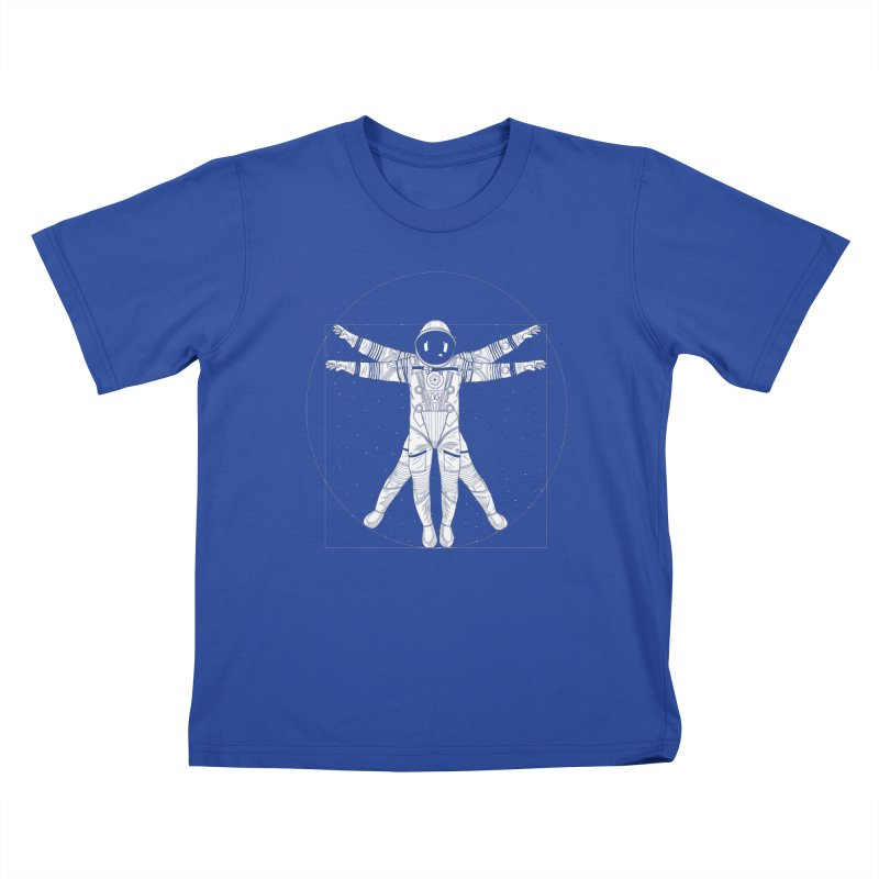 Vitruvian Spaceman (Light Ink) in Kids T-Shirt Royal Blue by 84collective