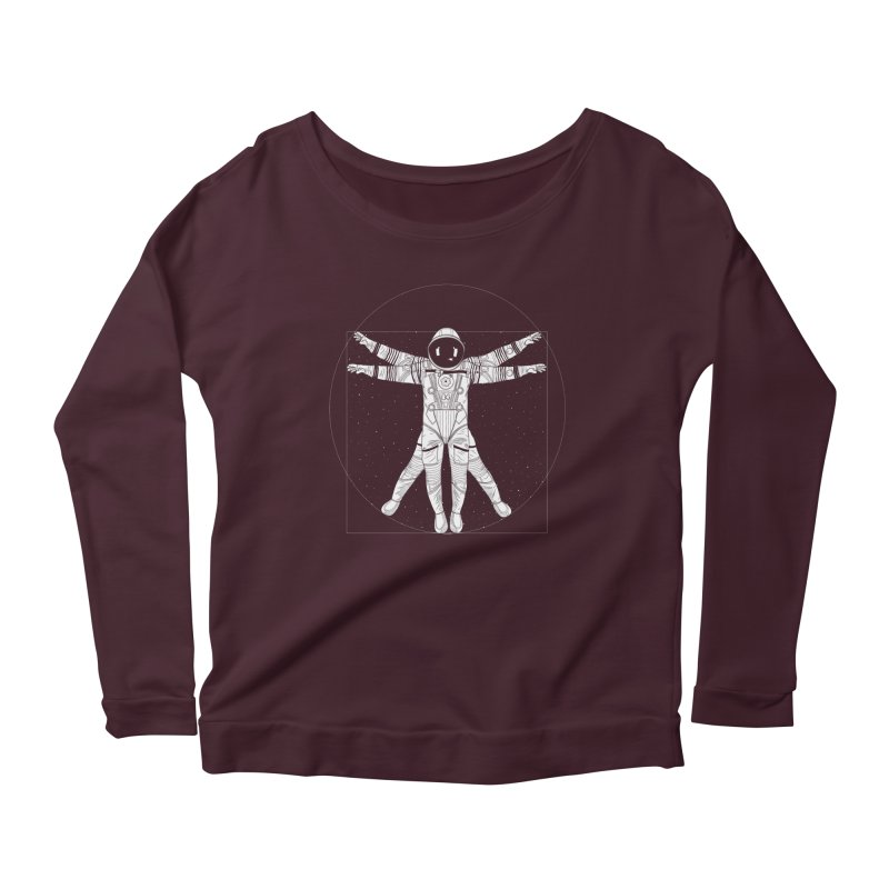 Vitruvian Spaceman (Light Ink) Women's Scoop Neck Longsleeve T-Shirt by 84collective