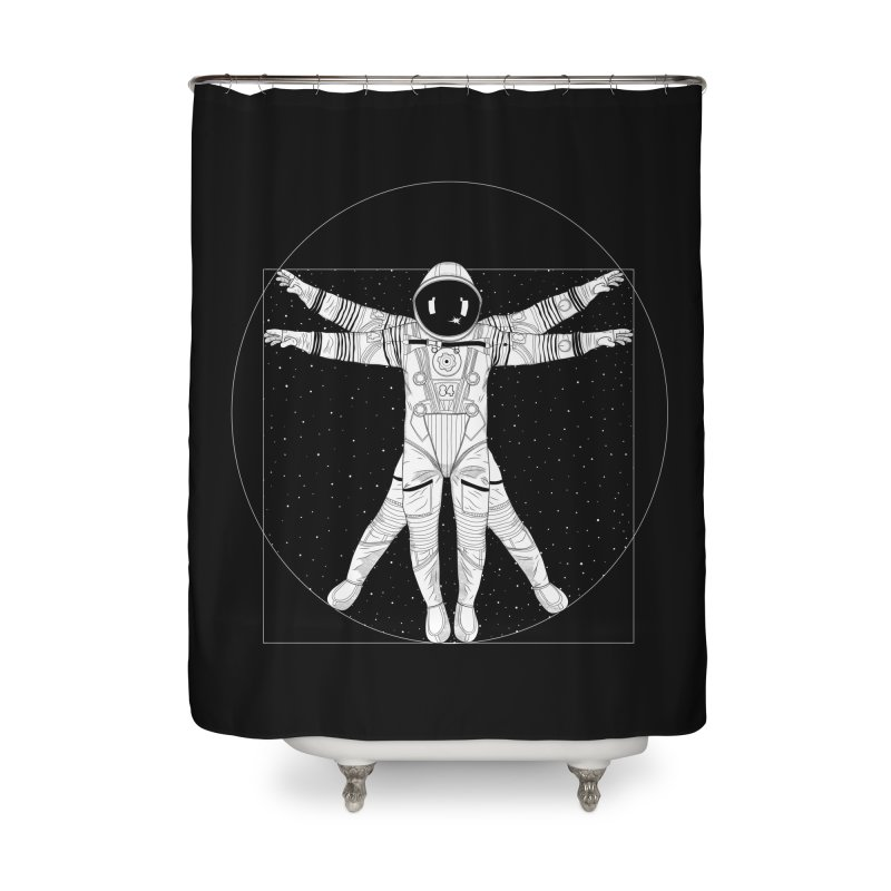 Vitruvian Spaceman (Light Ink) Home Shower Curtain by 84collective