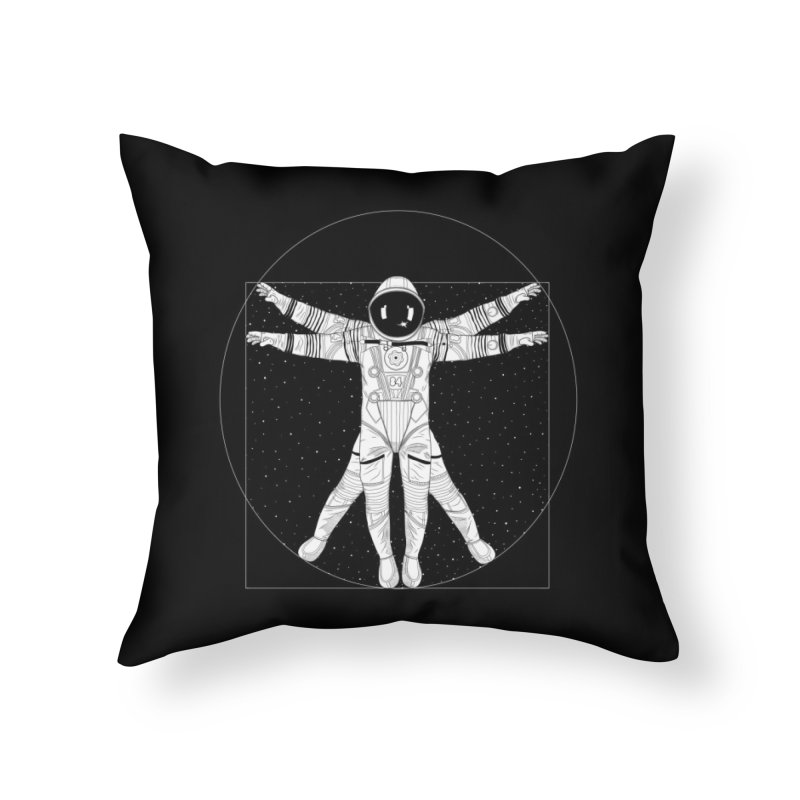 Vitruvian Spaceman (Light Ink) Home Throw Pillow by 84collective