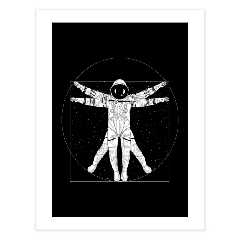 Vitruvian Spaceman (Light Ink) Home Fine Art Print by 84collective
