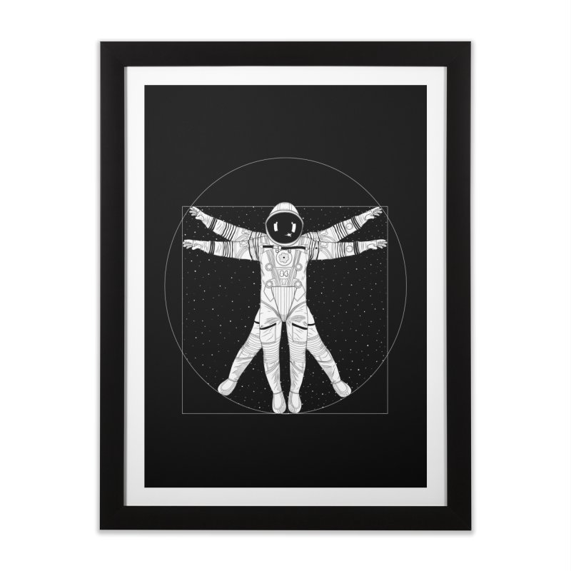 Vitruvian Spaceman (Light Ink) Home Framed Fine Art Print by 84collective