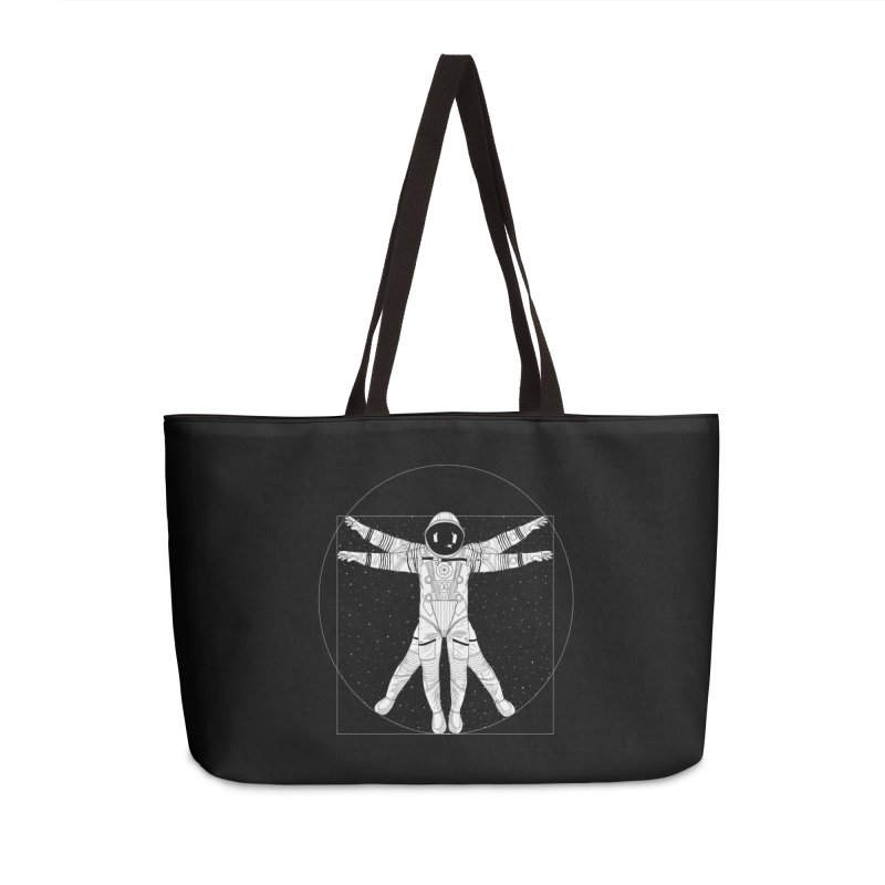 Vitruvian Spaceman (Light Ink) Accessories Weekender Bag Bag by 84collective