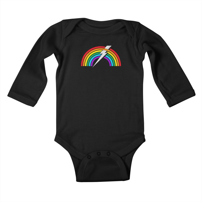 Powered By Rainbow Lightning Kids Baby Longsleeve Bodysuit by 84collective