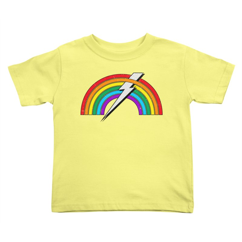 Powered By Rainbow Lightning Kids Toddler T-Shirt by 84collective