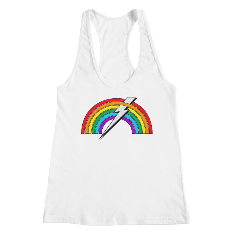 Powered By Rainbow Lightning Women's Racerback Tank by 84collective