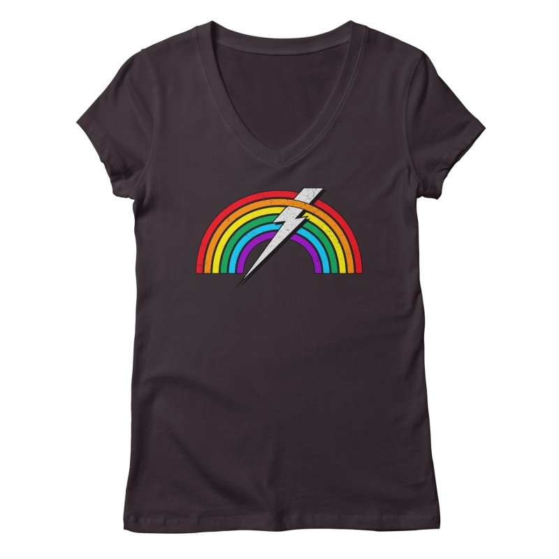 Powered By Rainbow Lightning Women's Regular V-Neck by 84collective