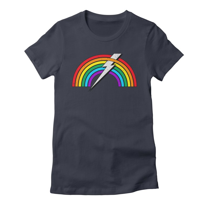 Powered By Rainbow Lightning Women's Fitted T-Shirt by 84collective