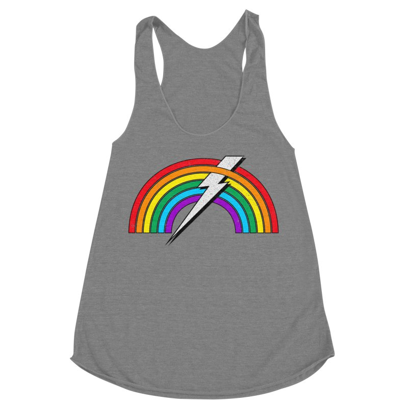 Powered By Rainbow Lightning Women's Racerback Triblend Tank by 84collective