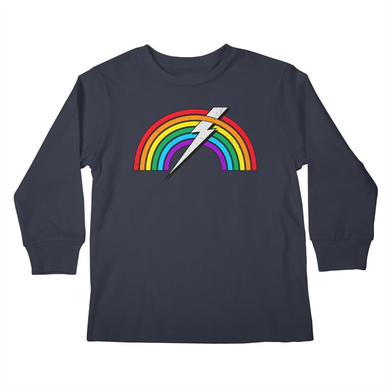Powered By Rainbow Lightning Kids Longsleeve T-Shirt by 84collective