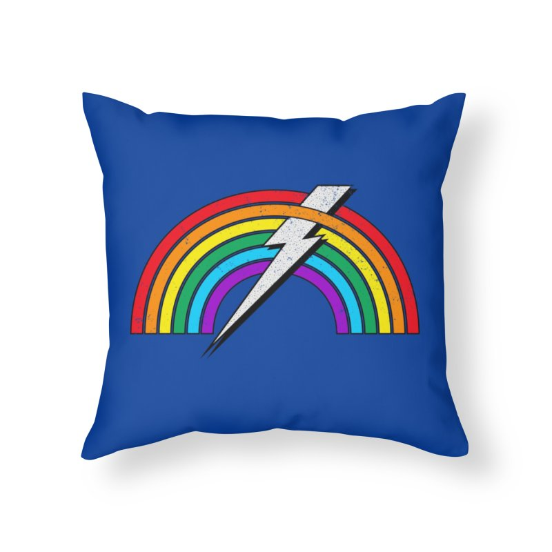 Powered By Rainbow Lightning Home Throw Pillow by 84collective