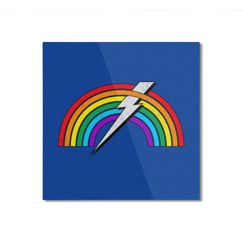 Powered By Rainbow Lightning Home Mounted Aluminum Print by 84collective