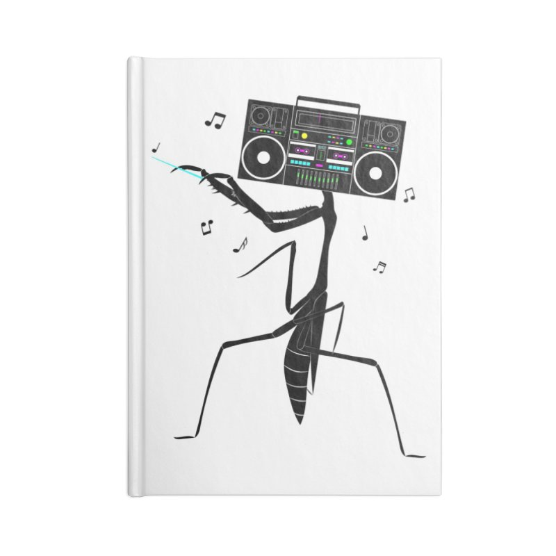 Praying Mantis Radio Accessories Lined Journal Notebook by 84collective
