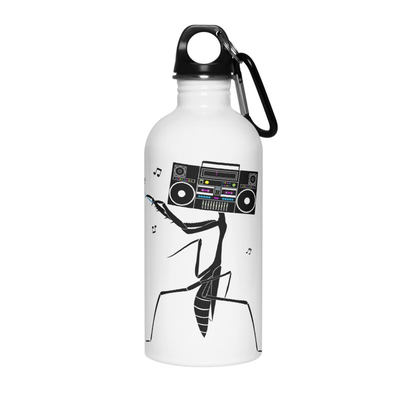 Praying Mantis Radio Accessories Water Bottle by 84collective