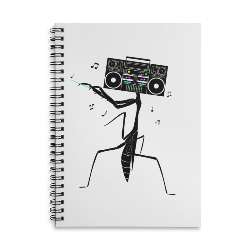 Praying Mantis Radio Accessories Lined Spiral Notebook by 84collective