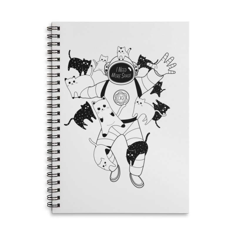 I Need More Space Cats Accessories Lined Spiral Notebook by 84collective