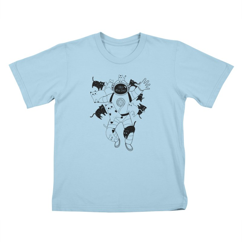 I Need More Space Cats in Kids T-Shirt Powder Blue by 84collective