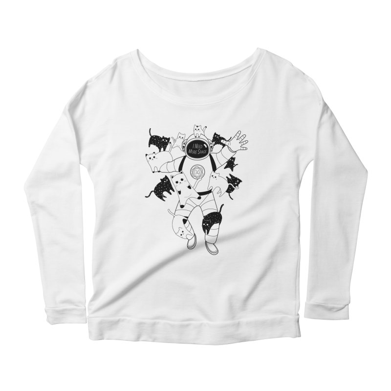 I Need More Space Cats Women's Scoop Neck Longsleeve T-Shirt by 84collective