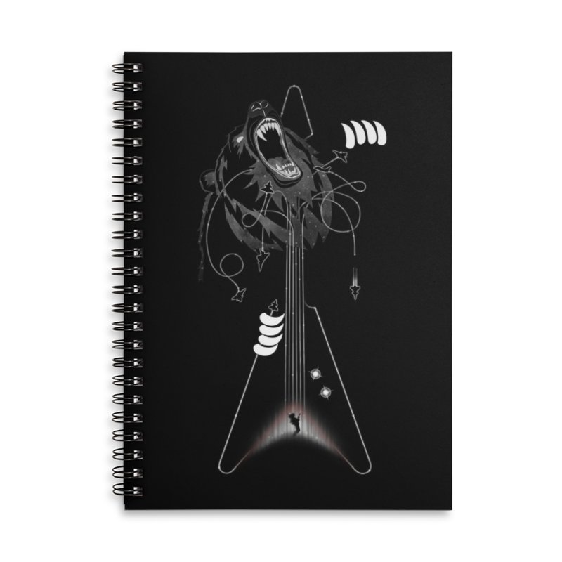 Interstellar Rock God Battle (Cosmic Bear vs Human) Accessories Lined Spiral Notebook by 84collective