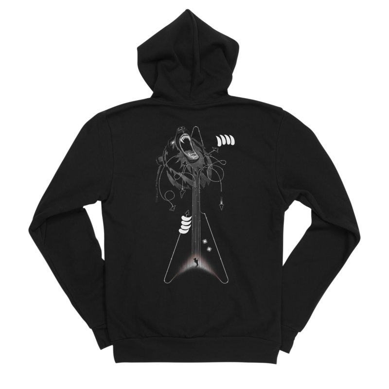 Interstellar Rock God Battle (Cosmic Bear vs Human) Women's Sponge Fleece Zip-Up Hoody by 84collective