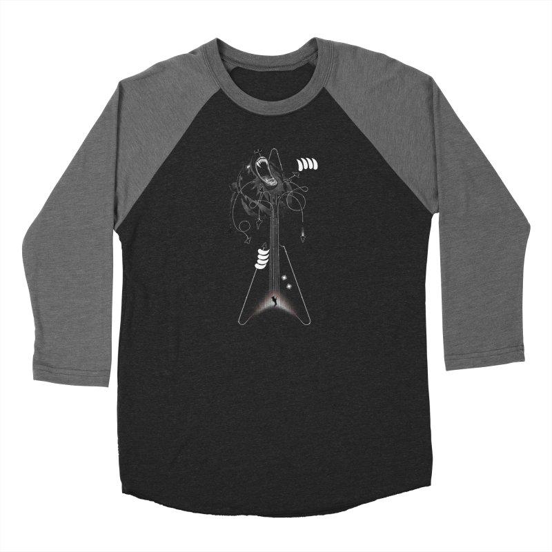 Interstellar Rock God Battle (Cosmic Bear vs Human) Men's Baseball Triblend Longsleeve T-Shirt by 84collective