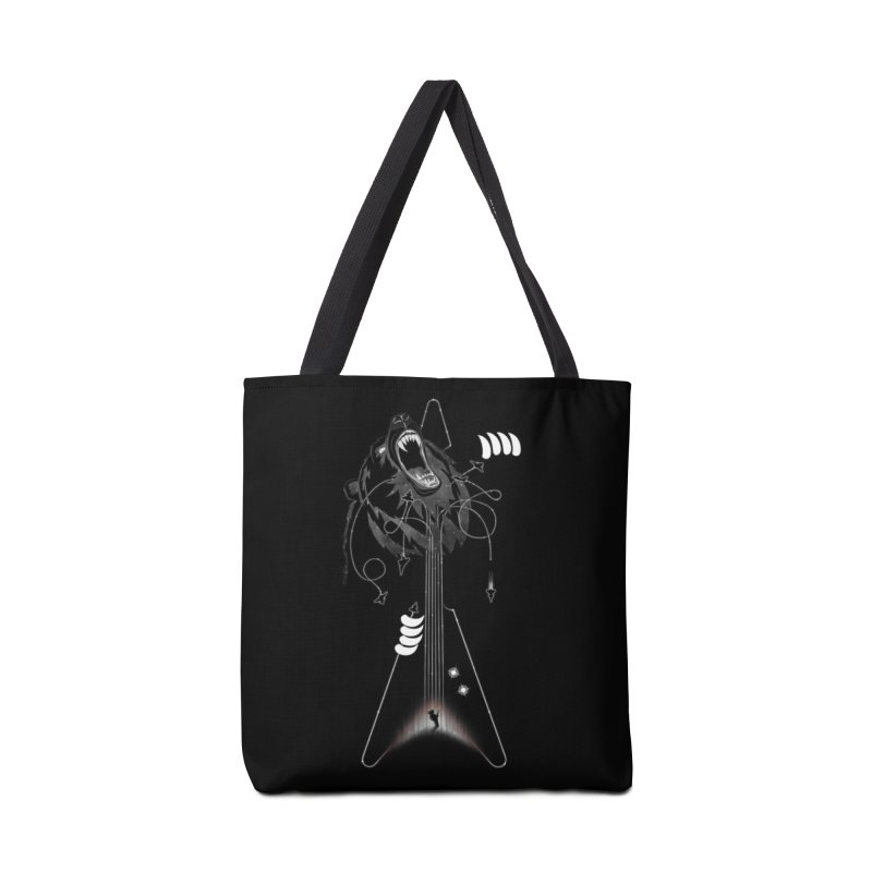 Interstellar Rock God Battle (Cosmic Bear vs Human) Accessories Bag by 84collective