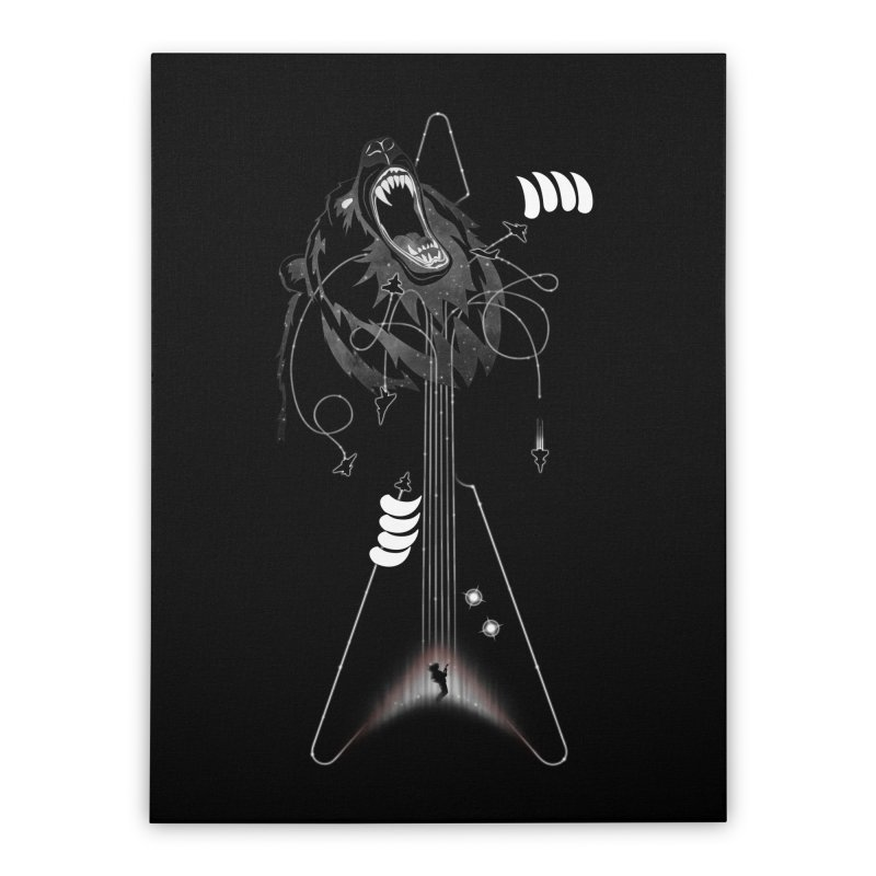 Interstellar Rock God Battle (Cosmic Bear vs Human) Home Stretched Canvas by 84collective