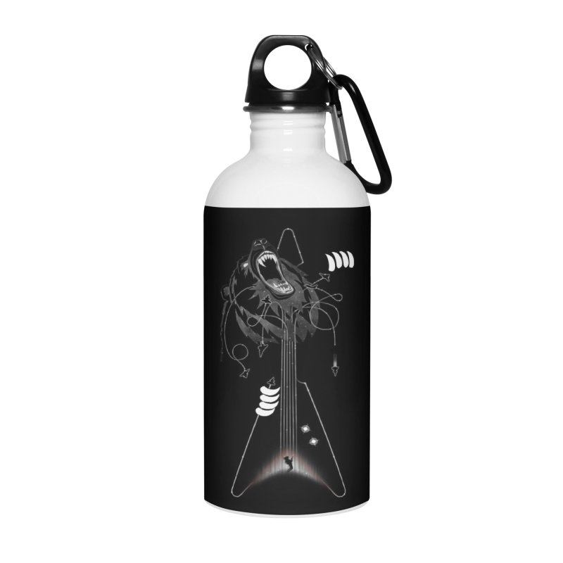 Interstellar Rock God Battle (Cosmic Bear vs Human) Accessories Water Bottle by 84collective