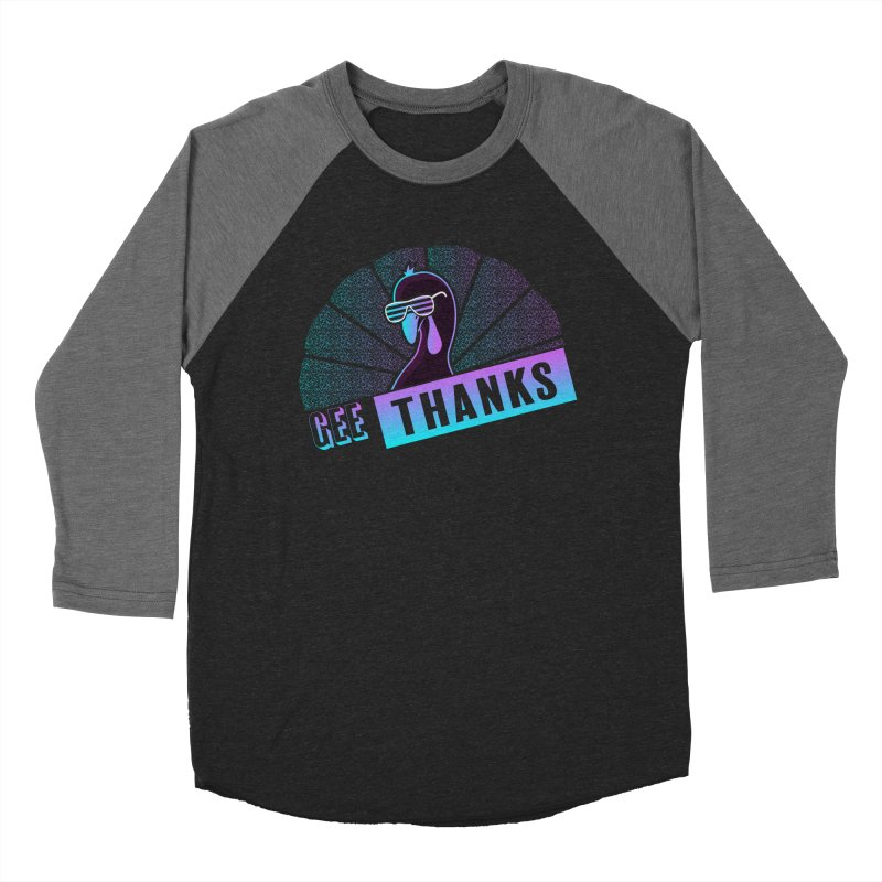 Gee Thanks (Sarcastic Thanksgiving Day Turkey) Men's Baseball Triblend Longsleeve T-Shirt by 84collective