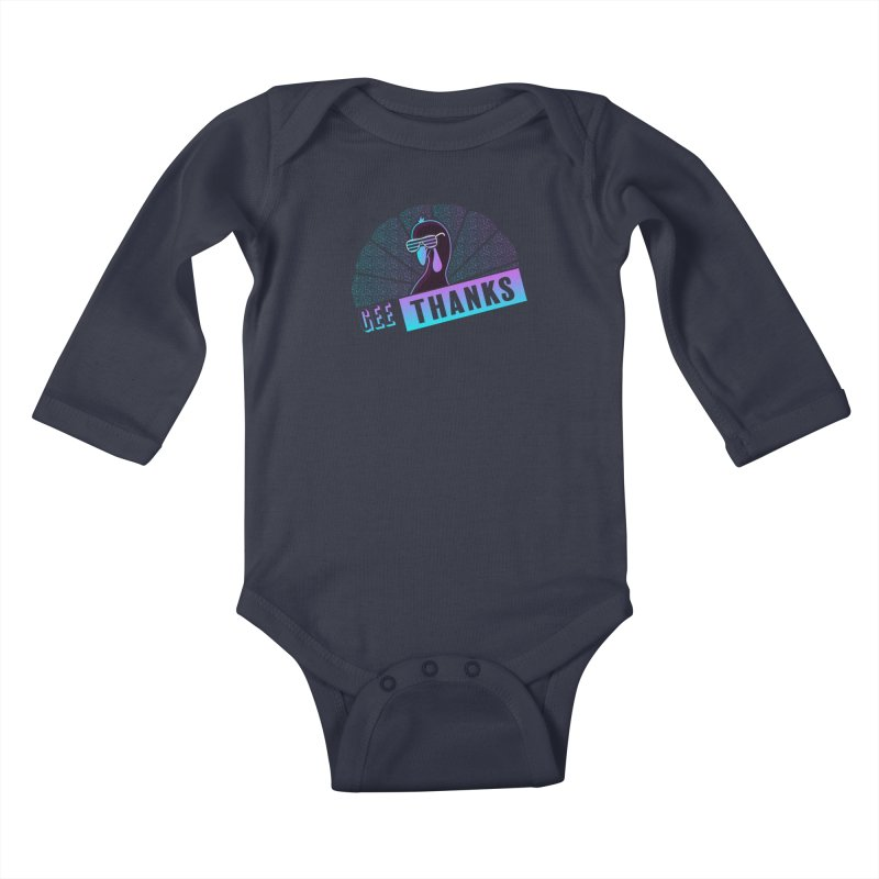 Gee Thanks (Sarcastic Thanksgiving Day Turkey) Kids Baby Longsleeve Bodysuit by 84collective