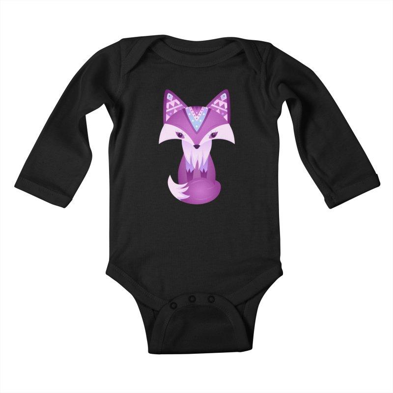 Mystical Woodland Fox (Purple) Kids Baby Longsleeve Bodysuit by 84collective