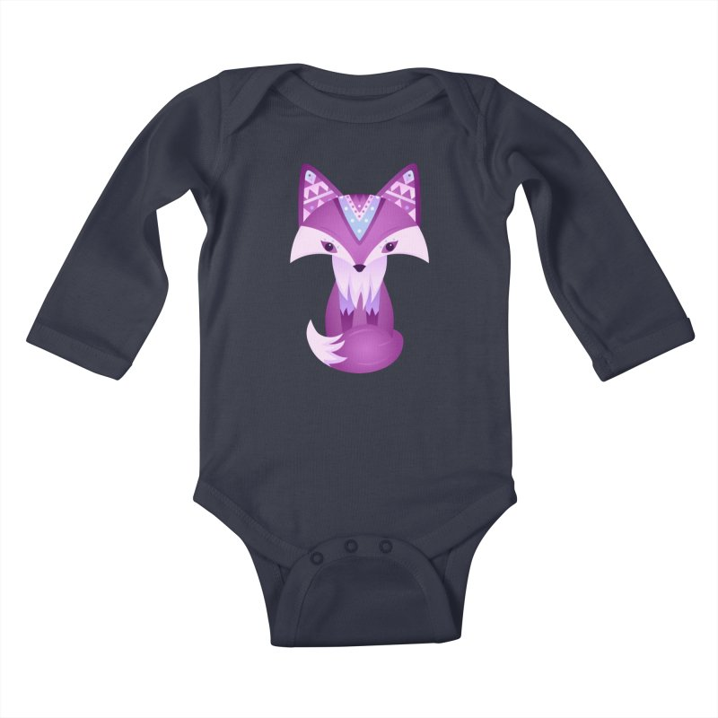 Mystical Woodland Fox (Purple) Kids Baby Longsleeve Bodysuit by 84collective