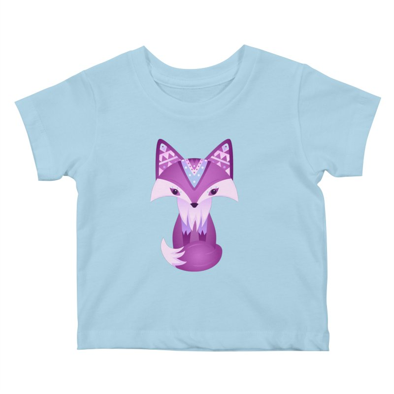 Mystical Woodland Fox (Purple) Kids Baby T-Shirt by 84collective