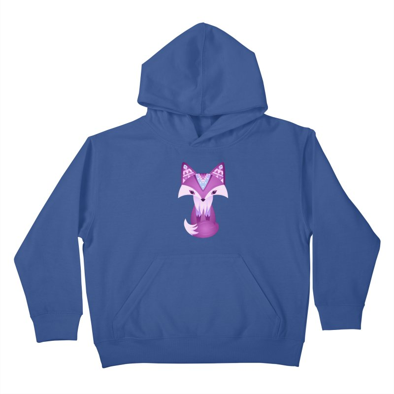 Mystical Woodland Fox (Purple) Kids Pullover Hoody by 84collective