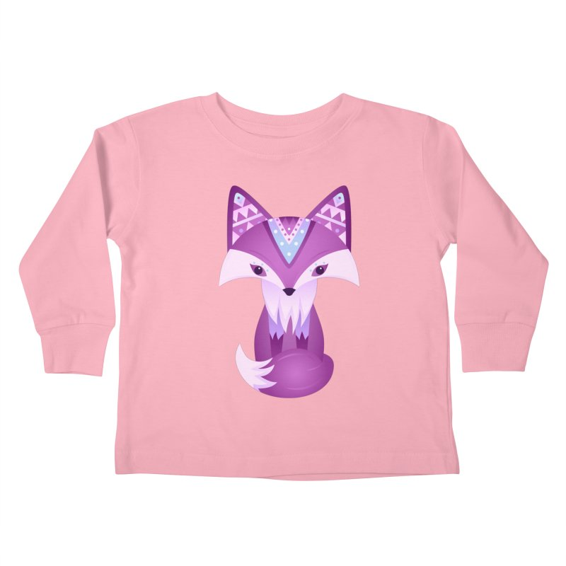 Mystical Woodland Fox (Purple) Kids Toddler Longsleeve T-Shirt by 84collective