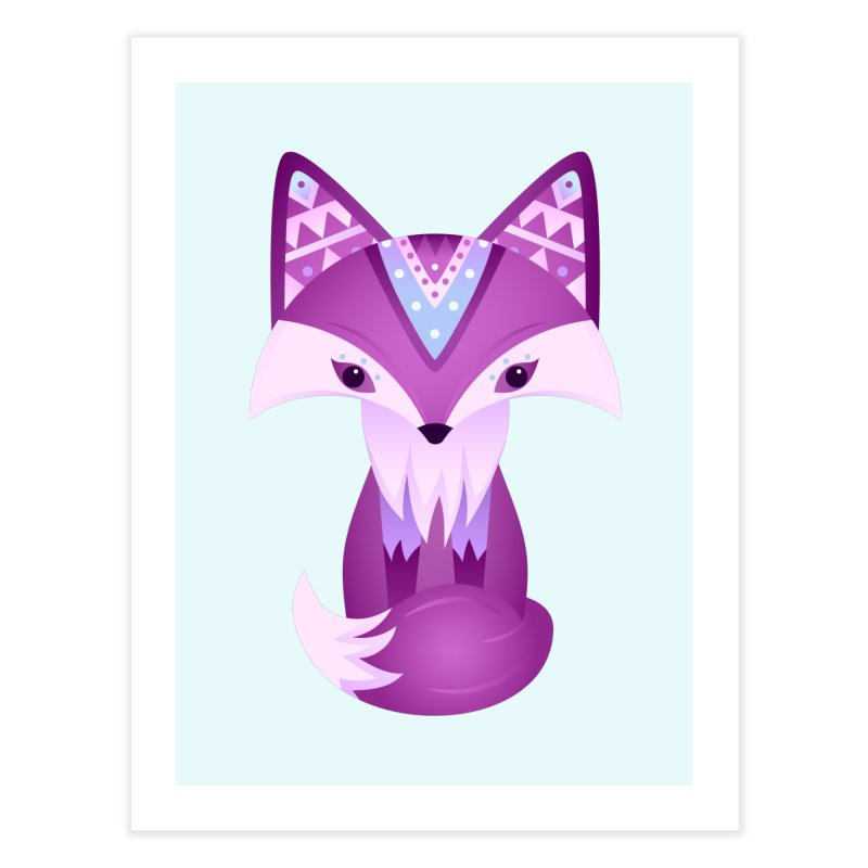 Mystical Woodland Fox (Purple) Home Fine Art Print by 84collective