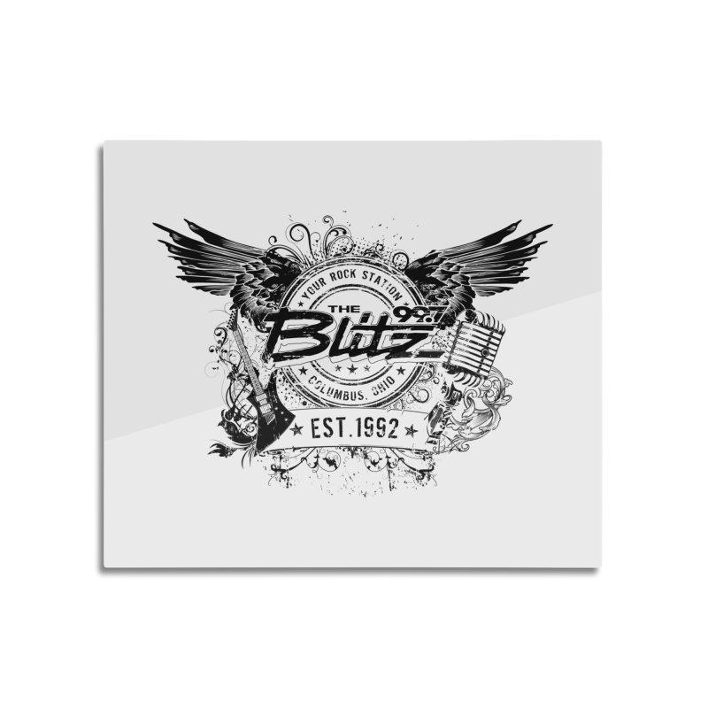 Blitz Winged Logo (Black) Home Goods Mounted Aluminum Print by 99.7 The Blitz Rock Shop
