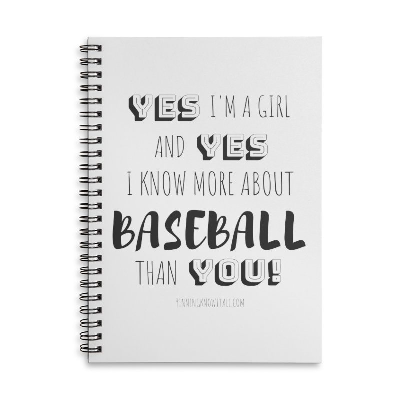 Girls Know Baseball Accessories Notebook by 9 Inning Know It All Apparel and Merchandise