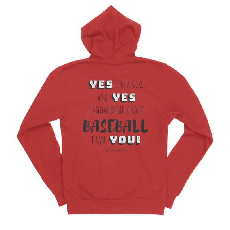 Girls Know Baseball Women's Sponge Fleece Zip-Up Hoody by 9 Inning Know It All Apparel and Merchandise