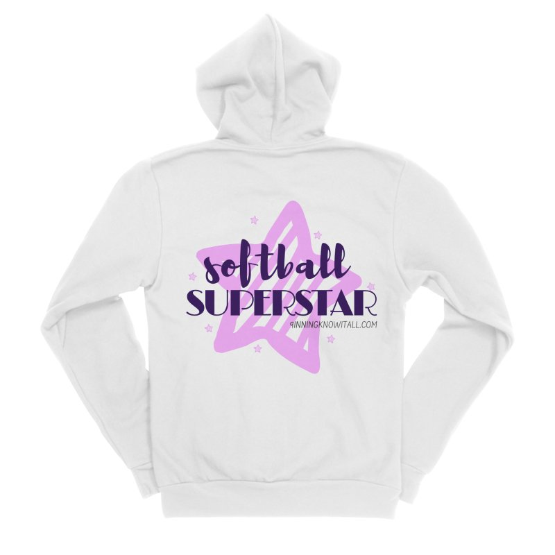 Softball Superstar Women's Sponge Fleece Zip-Up Hoody by 9 Inning Know It All Apparel and Merchandise